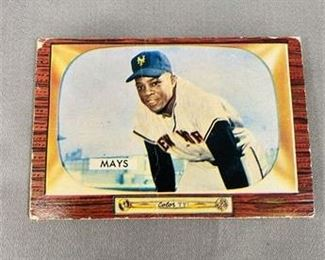 Lot 004 1955 Bowman Willie Mays Card.    https://www.bidrustbelt.com/Event/LotDetails/118855918/1955-Bowman-Willie-Mays-Card
