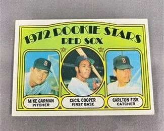 Lot 082 1972 Topps Carlton Fisk Rookie Card.    https://www.bidrustbelt.com/Event/LotDetails/118857840/1972-Topps-Carlton-Fisk-Rookie-Card