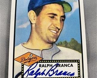 Lot 183 Autographed 2001 Topps Heritage Ralph Branch Card