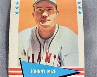 Lot 193 1961 Fleer Johnny Mize Card