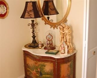 French style cabinet w marble top, Nude Statue