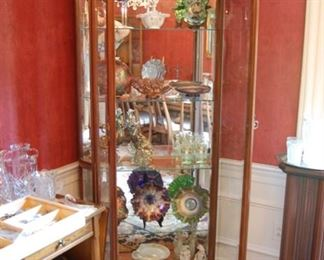 Lighted Curio Cabinet with carnival Glass