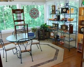 """Clocks galore, carnival- purple and marigold, patio set and that """"1900"""" chair"""