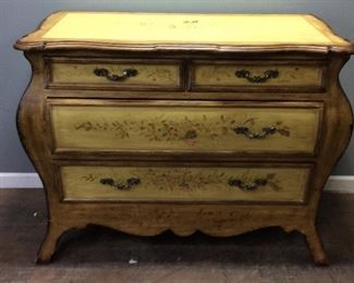LIGHT YELLOW FLORAL DESIGN CHEST OF DRAWERS