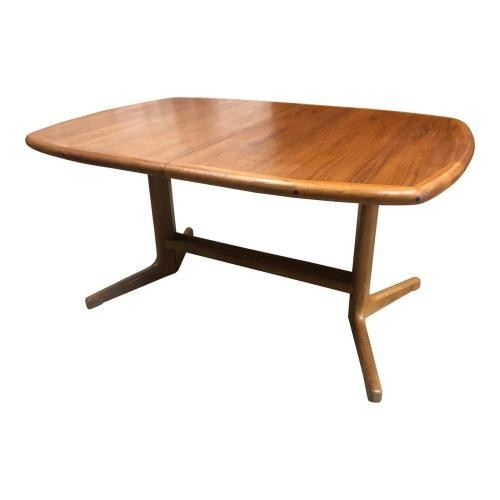 184LR DScan Mid Century Teak Hidden Leaf Dining Table