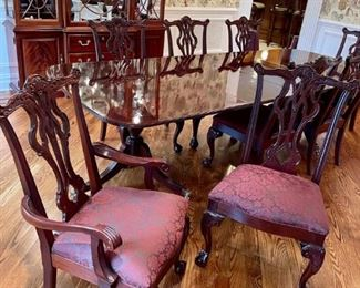Thomasville Mahogany dining room set. Includes China cabinet, double pedestal table, 8 Chippendale chairs, and buffet server.