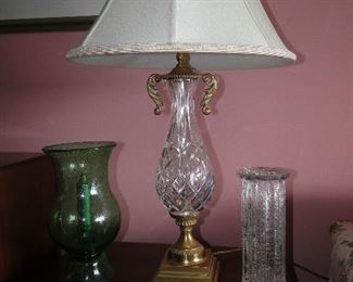 Waterford Lamp $100, Misc. Vases $10-20