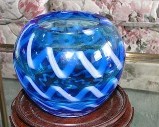 Blue Art Glass Vase Waterford Evolution $50