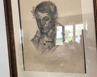 Salvador Dali pencil signed litho portrait of Picasso