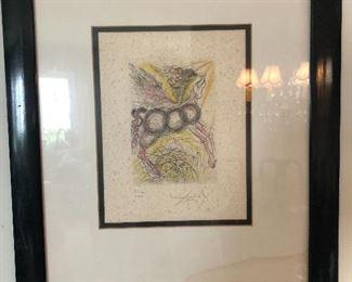 Pencil signed Salvador Dali