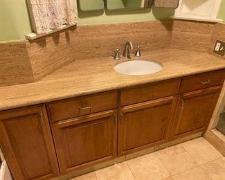 bathroom counter, travertine floor tile