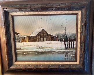 Signed Everett Woodson oil on canvas