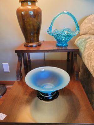 Glass Basket and 1930's Satin Glass bowl on black amethyst base