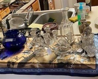 Assorted Antique Candle Holder Sets & Glass Items