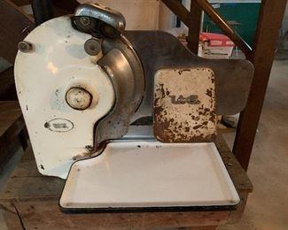 Antique US Berkel meat slicer. Still turned on and sounded good
