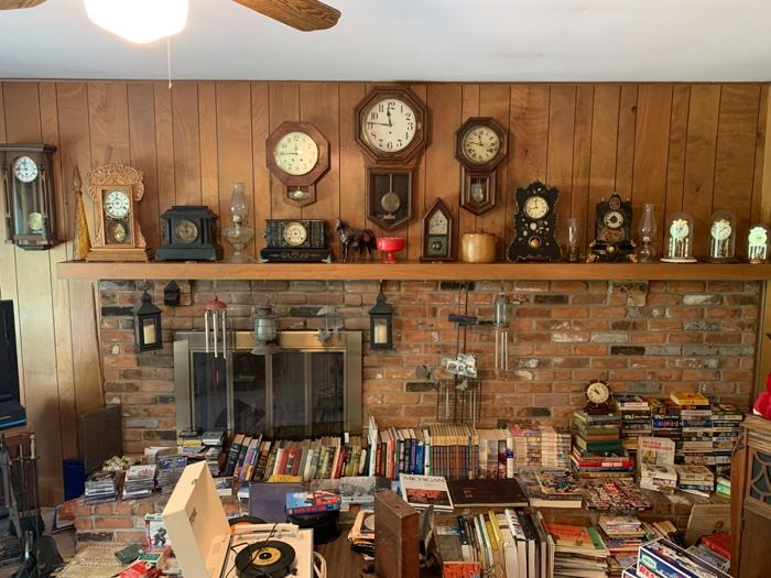 Antique clocks, Books, Record player, Victrola, Oil lamps