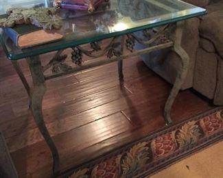 glass & metal lamp table