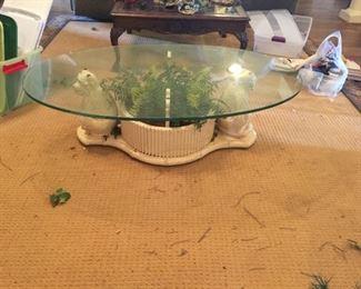Monkey base planter glass top coffee table