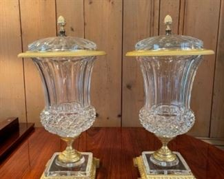"""Mar bro French Crystal Vases.  Timeless crystal masterpieces.  These vases would dress the most prestigious tables and light up the world's most beautiful homes.     18"""" H x 10""""W x 10"""" D"""