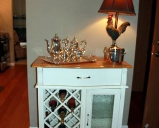 Wine Cabinet, Rooster Lamp
