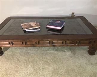 Wood Glass Top Coffee Table