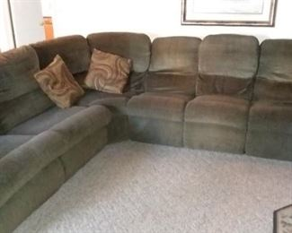 Lazy Boy sectional couch with 2 recliners, cup holder tray and pull out bed