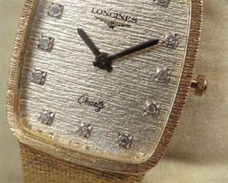 CLASSIC VINTAGE LONGINES 14K GOLD AND DIAMOND LADIES WRISTWATCH