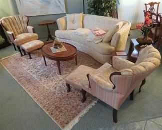 CLASSICALLY STYLED UPHOLSTERED CHAIRS, OTTOMANS AND SOFA IN EXCELLENT CONDITION