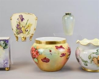 """4Grouping of Five Porcelain VasesLot includes gilt and hand painted floral round vase marked T&V Limoges France, 6""""T x 8 1/2""""W, some wear on paint at rim; gilt and floral hand painted fluted vase with AK France mark, 6""""T x 7 1/2""""W, no chips; gilt and floral hand painted Martial Redon Limoges France on four short feet, 6 1/4""""T x 6""""""""W; square gilt and hand painted Limoges mark on gold round feet, 6 1/4""""T x 3 1/2W; small gilt and rose motif Limoges marked vase, 5""""T"""