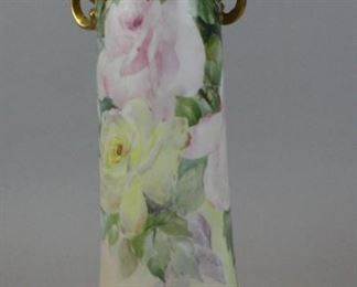 """5William Guerin & Co. Limoges VaseHand painted French porcelain vase, with floral decoration, gilt painted rim and 2 gilt painted acanthus form handles. Signed on the underside with artist's monogram, impressed number 2016 and WG & Co. (William Guerin & Co.) Limoges France mark. 15""""H"""