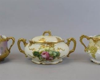 """8Limoges Lidded Soup Tureen GroupingLot includes three gilt handpainted small tureens- Blakeman and Henderson Limoges gilt and grape motif hand painted tureen, 4""""T x 8 1/2""""W, no chips; Blakeman and Henderson Limoges tureen with B&H Limoges mark, hand painted gilt and rose motif, 5""""T x 8 1/2""""W, some paint wear, no chips; AKCD Limoges artist signed hand painted gilt and rose motif, 4 1/2""""T x 9 1/2""""W, some paint wear, no chips."""