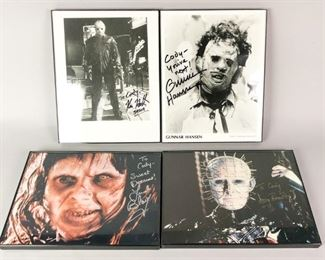 6	Horror Movie Autograph Collection	4 autographed horror movie stills. Kane Hodder (Jason, Friday the 13th Part VIII: Jason Takes Manhattan); Gunnar Hansen (Leatherface, The Texas Chainsaw Massacre); Linda Blair (Regan MacNeil, The Exorcist); Doug Bradley (Pinhead, Hellraiser).