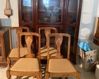 Beautiful China Cabinet. Ornate Dining Chairs.