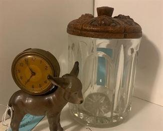 Vintage Clock. Vintage Cigar Jar.