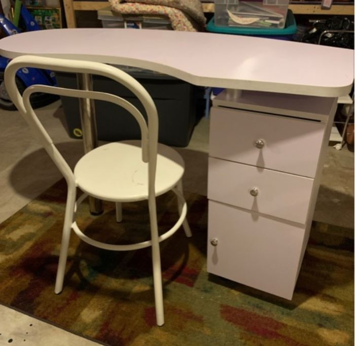 Modern Desk, Kidney Shaped Top with Chrome Accents and Metal Chair