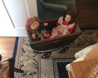 Vintage Doll Carriage and Dolls
