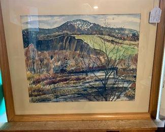 """West Canada Crossing"" Original Watercolor Grace Paull, 1957. 26.5 x 32.5"
