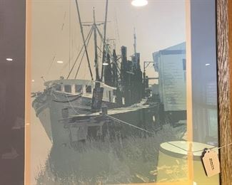 """Shrimper"" print signed by Parker.  Framed in faded barnwood and blue matte.  29.5 x 25.5."