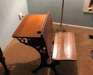 Early 20th Century wood & metal student desk