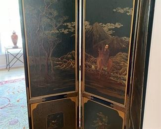 "Asian chinoiserie screen with three faux alligator panels.  Measures 66""H. Three 19"" panels.  Photo 3 of 3"
