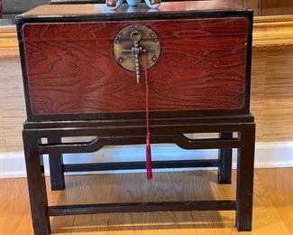 Asian lap/writing box on custom rosewood base. Photo 1 of 3
