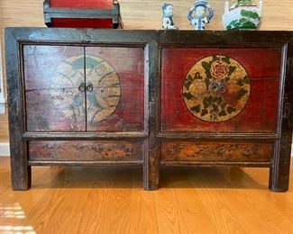 "Antique elmwood Chinese sideboard. Measures 53""W x 21""D x 30""H"