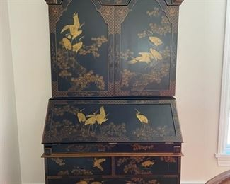 "Vintage ebony chinoiserie secretary. Measures 41""W x 21""D x 82""H. Photo 1 of 3"