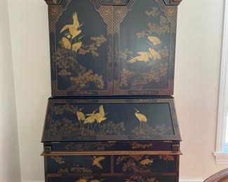 "Vintage ebony chinoiserie secretary. Measures 41""W x 21""D x 82""H. Photo 1 of 3"
