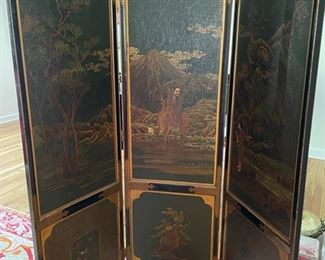 "Asian chinoiserie screen with three faux alligator  panels.  Measures 66""H. Three 19"" panels. Photo 1 of 3"