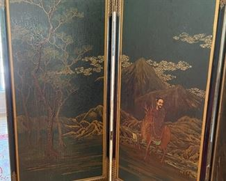 "Asian chinoiserie screen with three faux alligator  panels.  Measures 66""H. Three 19"" panels.  Photo 2 of 3"