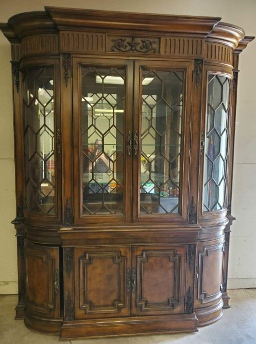 China cabinet with tap lighting, 8ft tall