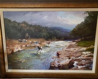 James Robinson (American, 1944-2015) Rare 30x24 Oil on canvas depicting Longhorns crossing a river