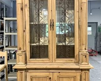 Magnificent Wood Carved China Display Hutch