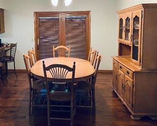 Dining set (solid birch) includes 6 chairs, table and hutch